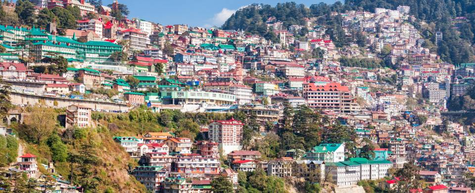 Houses in the side of the cliff in Shimla