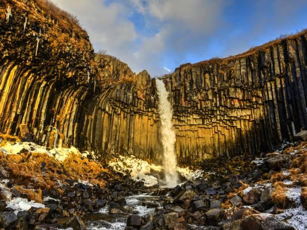 The striking Svartifoss tumbling over basalt columns in Skaftafell National Park