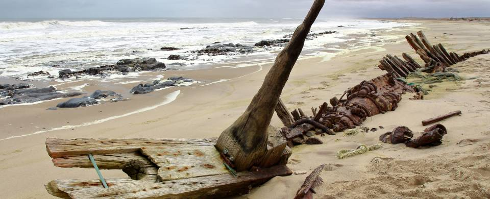 Shipwreck on the beach along the Skeleton Coast