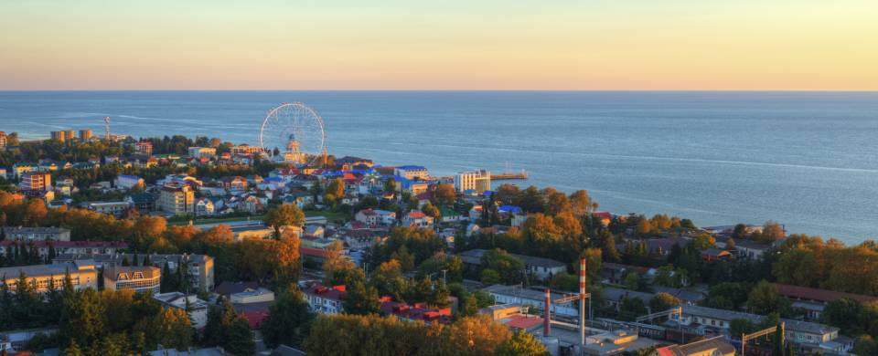 Aerial view of the seaside resort town of Sochi, former host of the Winter Olympics