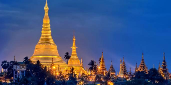 Glittering stupas at night | Yangon | Myanmar
