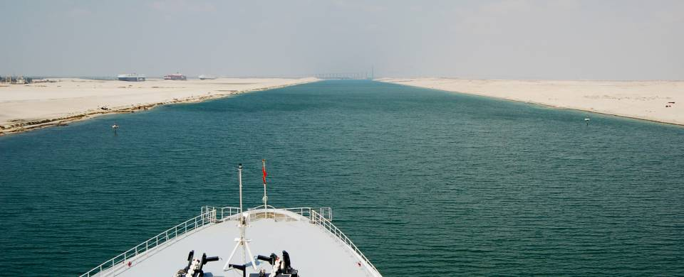 Cruise ship sailing along the Suez Canal