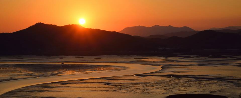 Sunset over the wetlands of Suncheon