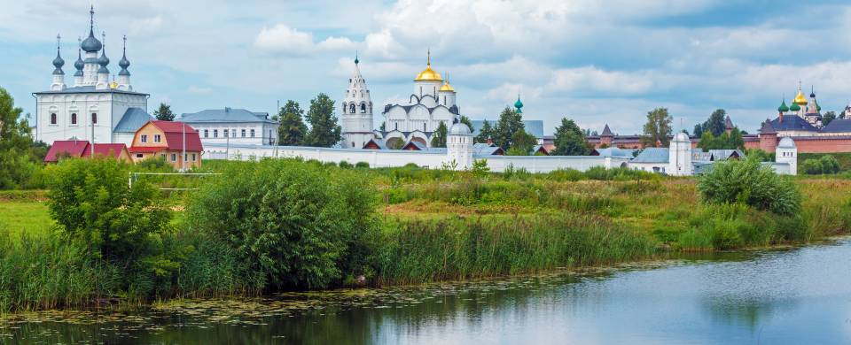 The pretty rural skyline of Suzdal with some of the many churches that make the town famous