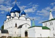 The blue-domed and gold spangled domes of the Nativity of the Virgin Cathedral in Suzdal's Kremlin