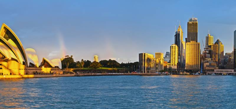 View of Sydney's circular quay at sunset
