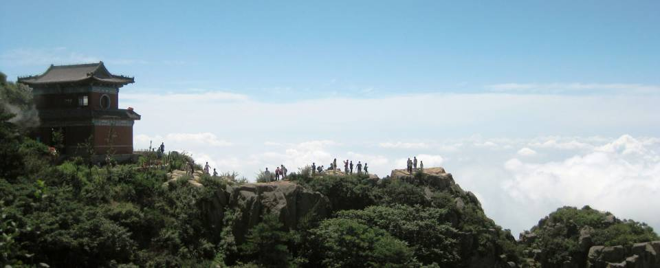 Beautiful view of the Tai Shan mountain and its visitors