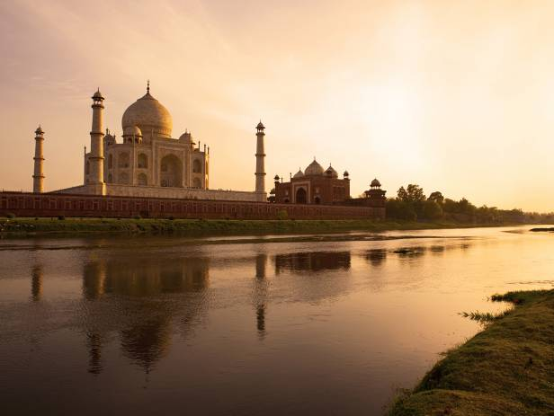 The Taj Mahal reflected in the water in Agra