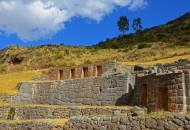 The terraced walls of the Inca baths at Tambo Machay north of Cuzco