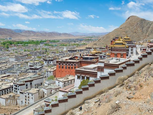 Palace sitting on top of a hill, looking over the Tibetan town of Shigatse