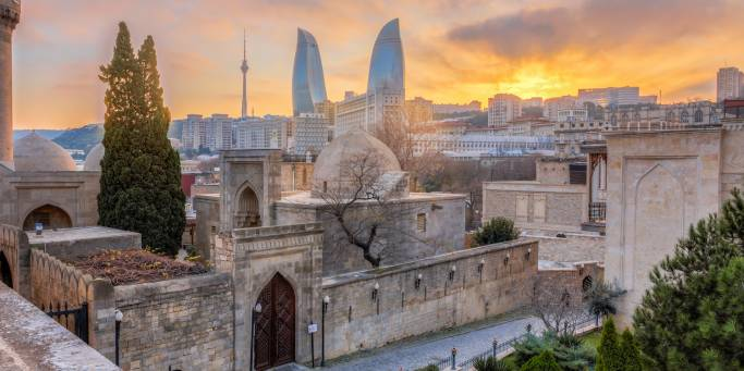 Baku Old City with Flame Towers in the background | Baku | Azerbaijan