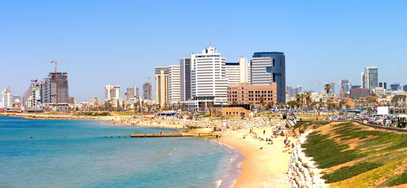 Panoramic view of Tel Aviv and the coastline on a bright sunny day in Israel