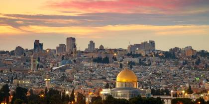 Temple on the Rock at sunset in Jerusalem - Israel Tours - On The Go Tours