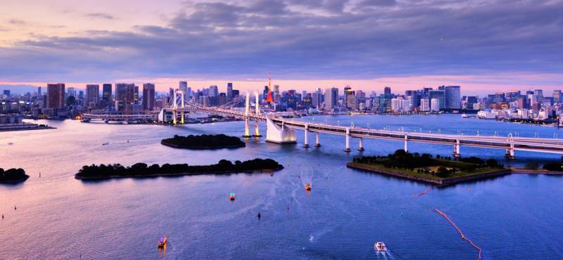 Panoramic view of Tokyo Bay at sunset