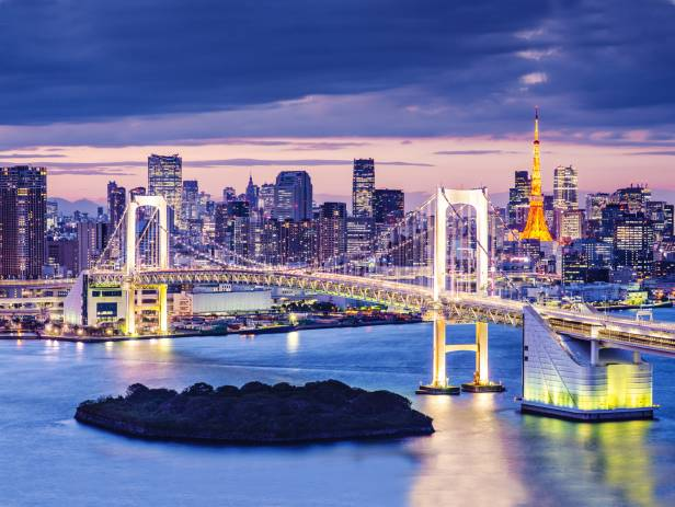 Rainbow Bridge, stretching across the water in Tokyo, lit up at night