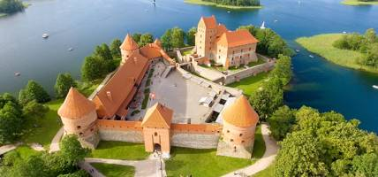 Trakai Castle in Lithuania, viewed from above