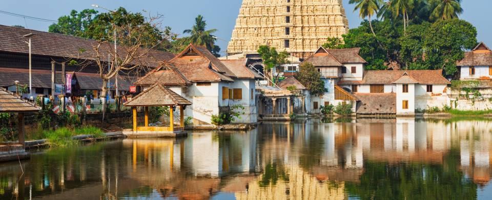 Sri Padmanabhaswamy temple on the water in Trivandrum