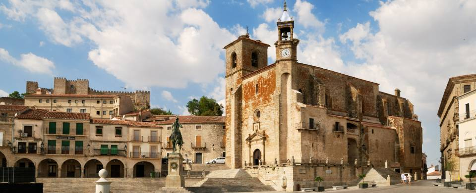 Main plaza with beautiful old architecture in Trujillo