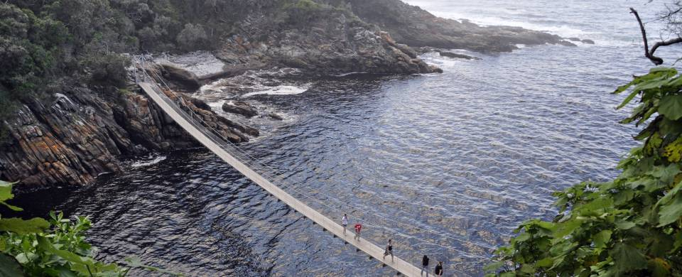 Suspension bridge over Storm River Mouth at Tsitsikamma National Park