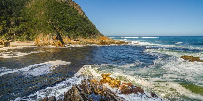 The Tsitsikamma National Park in South Africa is characterised by dramatic coastal scenery