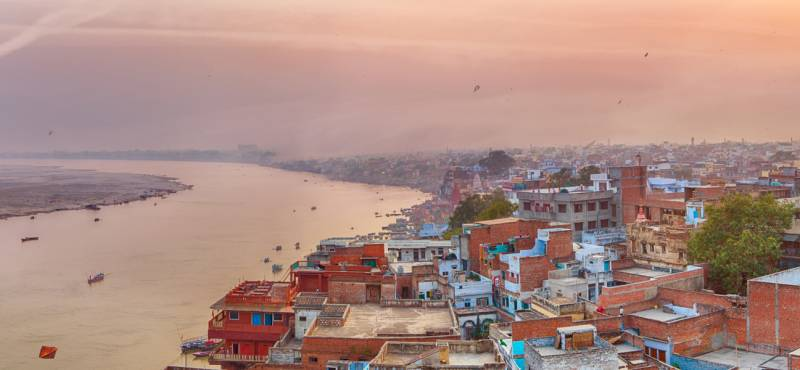 Sunset view over Varanasi during kite festival