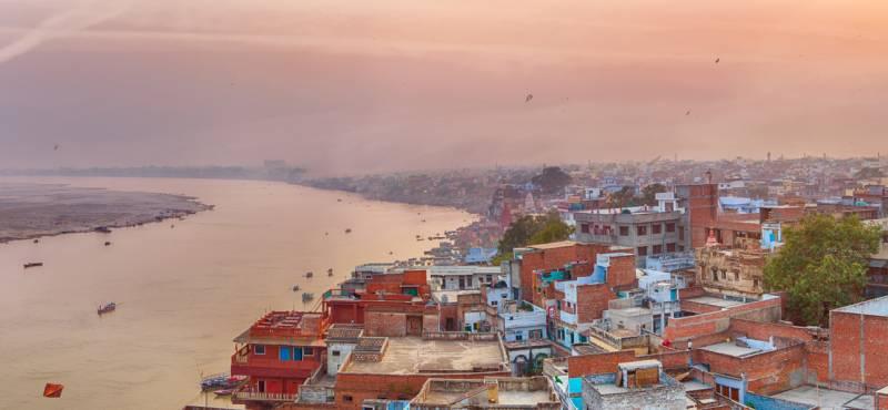 Sunset view over Varanasi during kite festival
