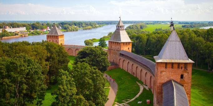 Looking out over the imposing Kremlin walls of Veliky Novgorod and its riverside setting