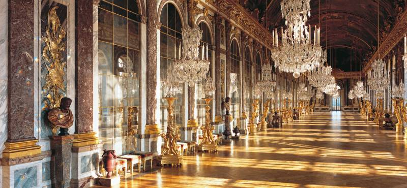 Interior shot of the Hall of Mirrors, one of the most famous halls from Versailles Chatea