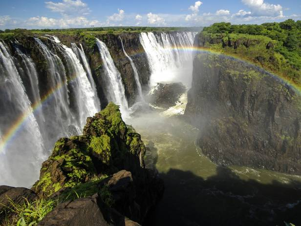 Aerial view of the dazzling blue water of Victoria Falls