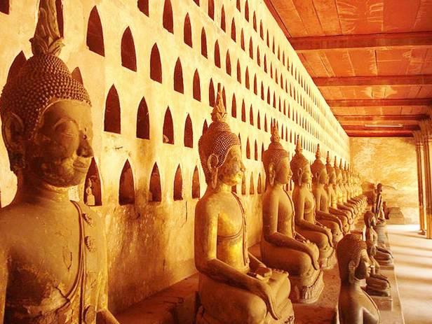 Statues in the beautiful Buddha garden in Vientiane