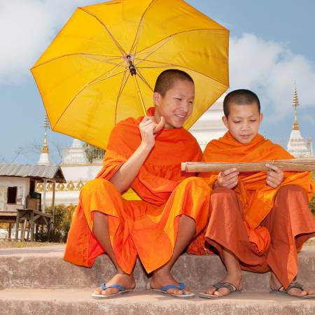 Vientiane-to-Vietnam-itinerary-4-Monks in Laos
