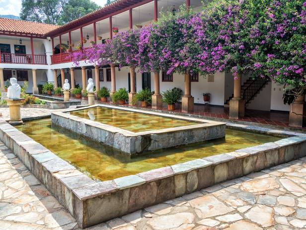 The attractive colonial architecture of Villa de Leyva with a mountainous backdrop