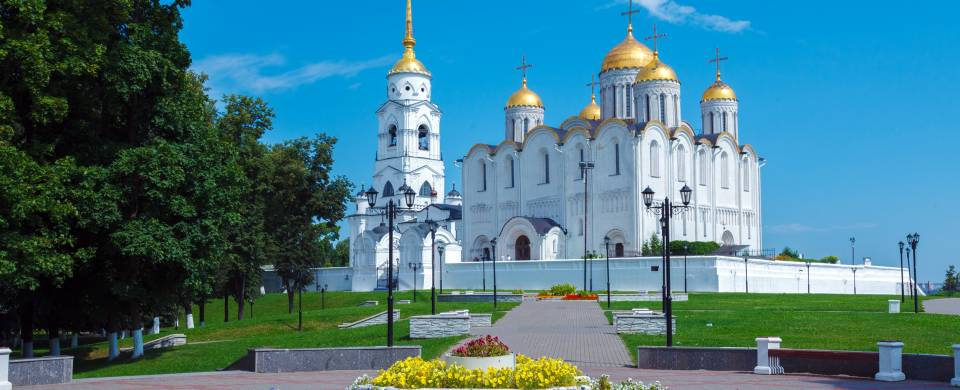 The gleaming golden domes of the Assumption Cathedral in Vladimir