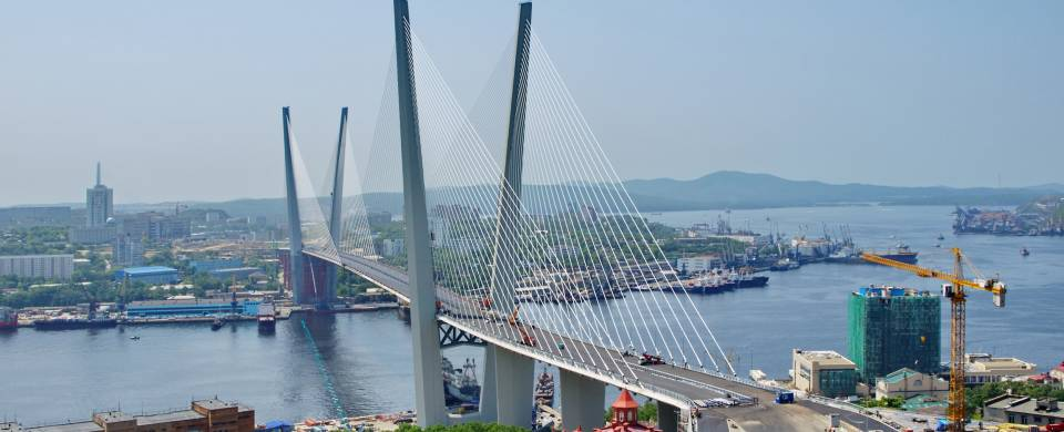 Iconic spikes of Zolotoy Bridge in Vladivostok