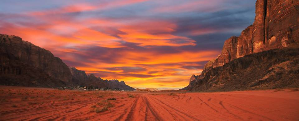 Sunset painting the sand of Wadi Rum a vivd pink