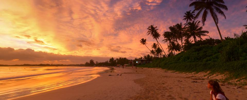 Stunning sunset staining the sky purple and orange at the beach in Weligama