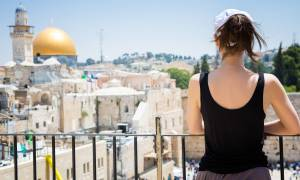 Woman looking over Jerusalem Old City - Israel Tours - On The Go Tours