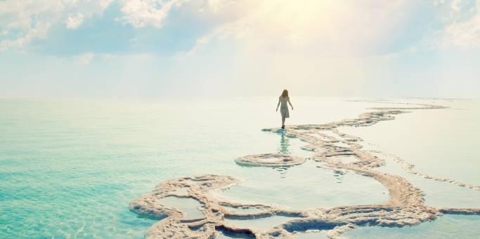 Woman walking on the Dead Sea | Jordan