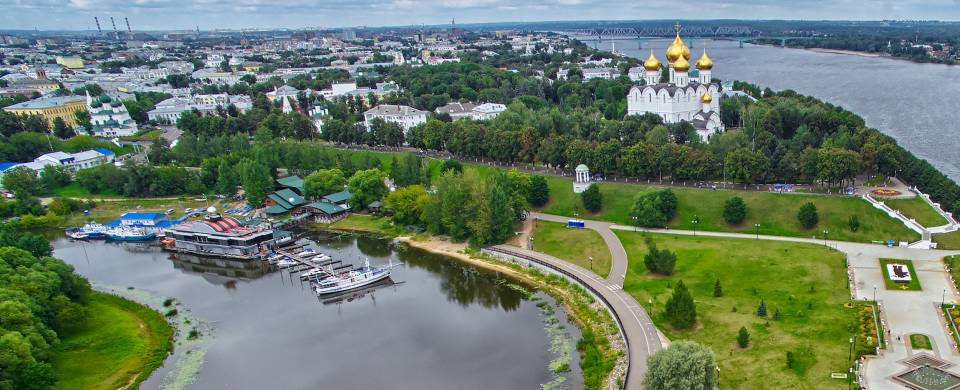 An aerial view of the city of Yaroslavl with its neat urban layout, green parks and towering churche