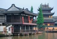 The traditional timber buildings of Zhujiajiao water town near Shanghai